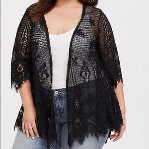 Torrid Scalloped Lace Open Front Kimono Size Large